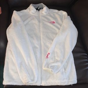 North face white with pink/ breast cancer ribbon